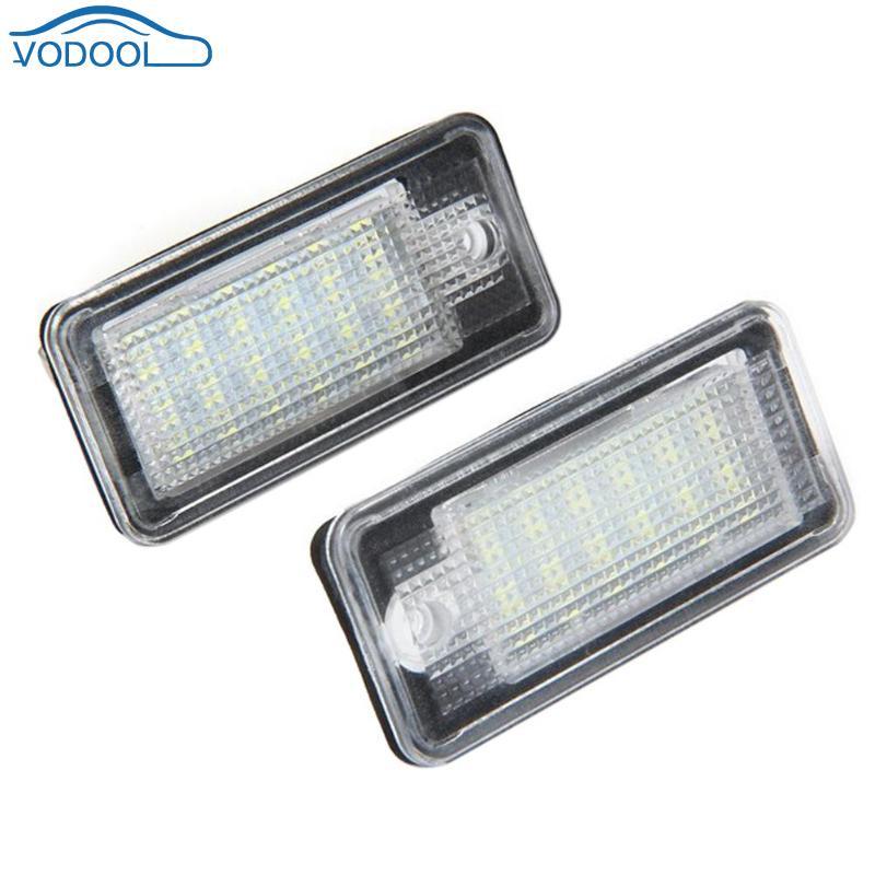 VODOOL 1 Pair LED Car License Plate Lights 6500K Vehicle Lamps Car-styling For Audi A3 A4 B6 B7 A6 A8 Q7 A5 white car no canbus error 18smd led license number plate light lamp for audi a3 s3 a4 s4 b6 b7 a6 s6 a8 q7 147