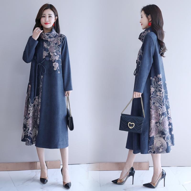 Automne hiver femmes Robe Vintage col roulé à manches longues Floral imprimé dames décontracté lâche Robe robes robes grande taille 5XL - 3