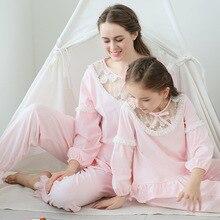 Letnie dziewczęce zestawy piżam dziecięce piżamy bawełniane koronkowe rękawy z Lantem ubrania domowe dziecięce koszule nocne księżniczka 90 170cm