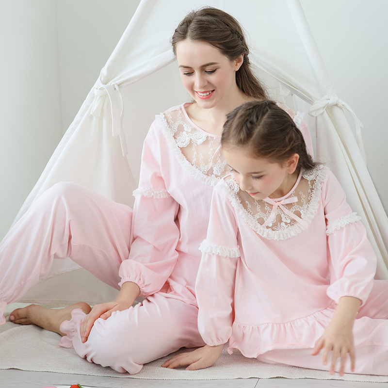 Summer Girls Pajama Sets Kids Sleepwear Cotton Lace Lantem Sleeve Home Clothes Children Nightgown Princess 90 170cmPajama Sets   -