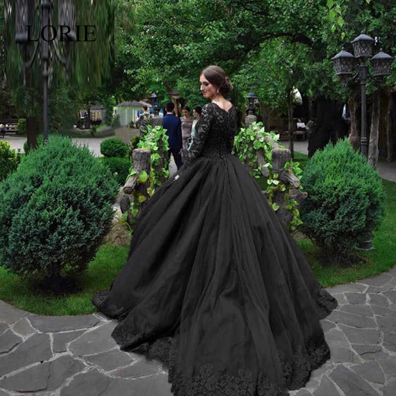 Gothic Wedding Dress.Black Gothic Wedding Dresses 2019 Long Sleeves Beaded Lace Tulle Princess Vintage Non White Wedding Gown Colorful Robe De Mariee