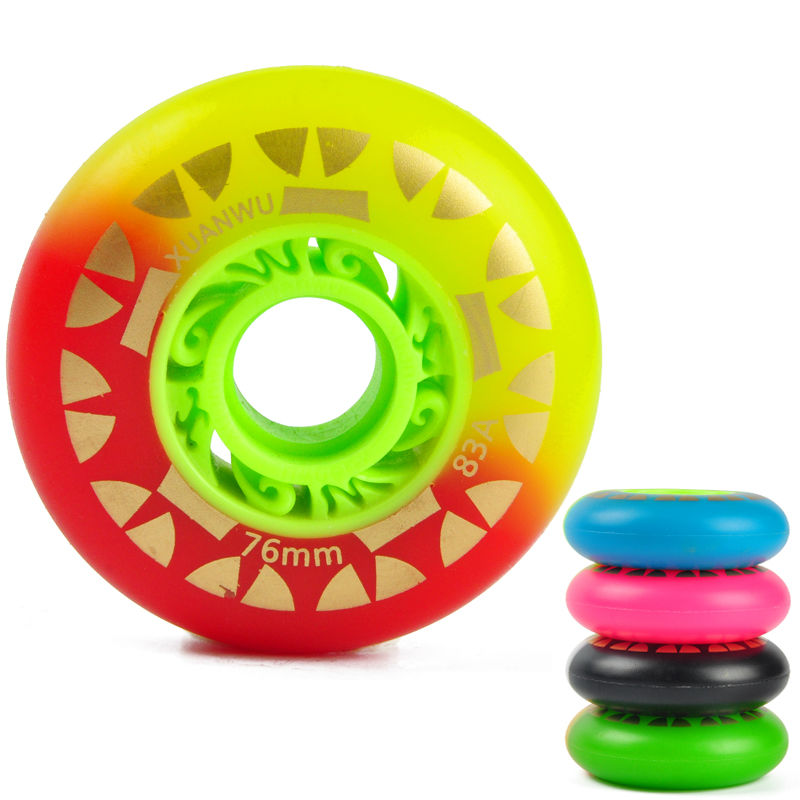 8PCS/Set 72/76/80mm Roller Skate Wheels Double Colors 85A PU Inline Skates Wheels Drift  ...