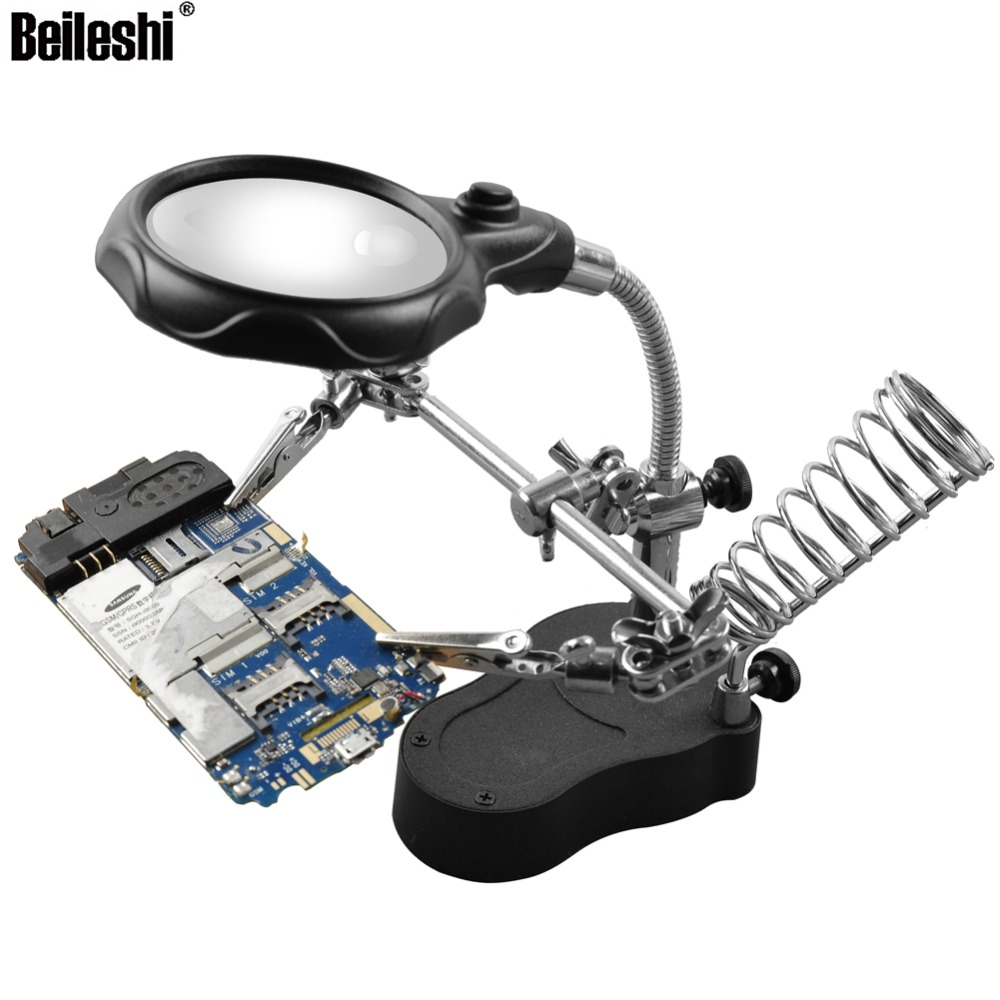 Buy Beileshi 30x 60x 90x Magnifier Led Uv Jewelry Man Hand Holding A Magnifying Glass Above Circuit Board Table 12x35x With Lamp Loupe Fixed Clip Soldering Support