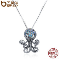 BAMOER 100 925 Sterling Silver Fancy Octopus Marine Animal Clear CZ Pendant Necklace Vintage Punk Style