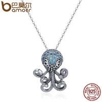 BAMOER 100 925 Sterling Silver Fancy Octopus Marine Animal Clear CZ Pendant Necklace Vintage Punk Style