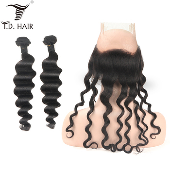tdhair Peruvian Natural Black Loose wave 2 Bundles with 360 Frontal Lace Frontal With Bundles 100% Human Hair image