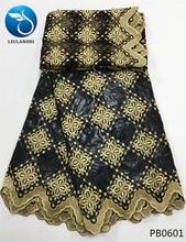LIULANZHI black riche getzner brode fabric cotton bazin african tissu with beads 2yards net lace PB06