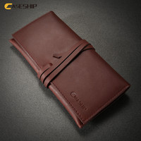 CASESHIP Genuine Leather Pouch For IPhone 6 6S 7 Plus String Buckle Card Slots Wallet Bag