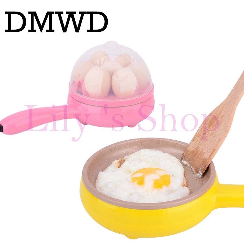 DMWD Multifunzione mini per uso domestico uovo frittata Pancake Fried Bistecca di Frittura Elettrica Pan Non-Stick Bollito uovo caldaia a vapore EU US
