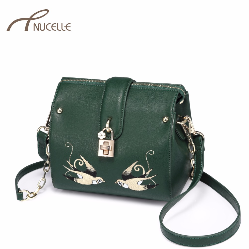 NUCELLE Women's PU Leather Messenger Bags Ladies Fashion Embroidery Birds Shoulder Purse Female Flower Lock Mini Crossbody Bags nucelle women split leather messenger bags ladies fashion chain mini cross body bags female flap shoulder bags for phone nz5902