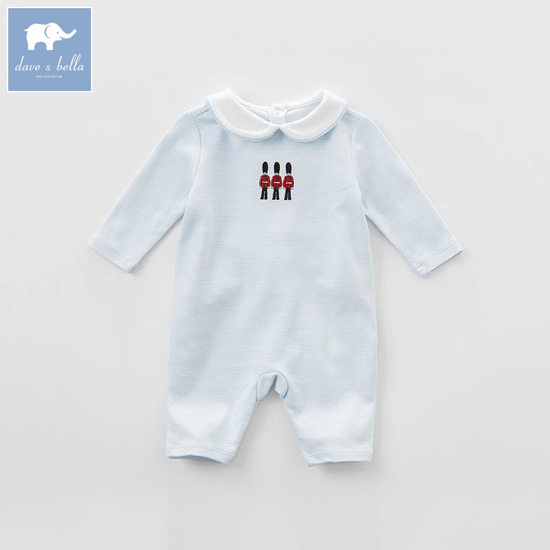 DB7109 dave bella spring baby boys new born cotton   romper   infant clothes cute children   romper   baby 1 piece