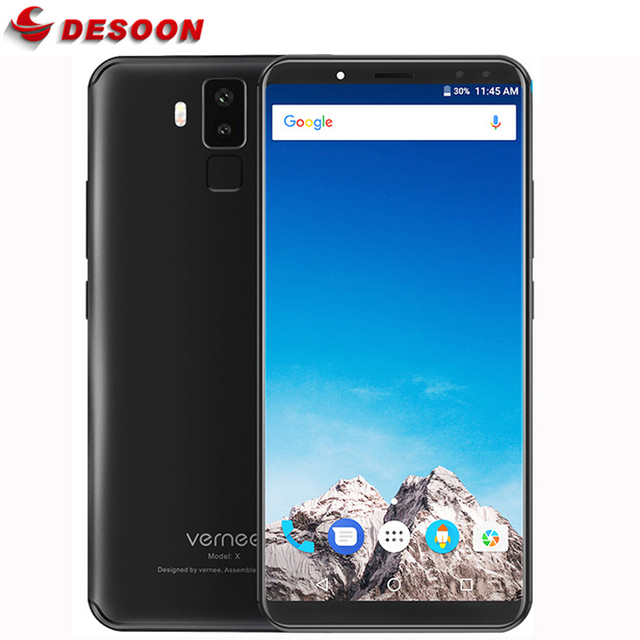 """Vernee X Face Recognition 5.99"""" 18:9 Display MT6763 Octa Core 6200mAh Mobile Phone 4GB RAM 64GB Android 7.1 OTG 16MP Smartphone"""