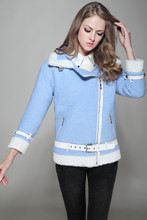 Women Winter Jacket 2016 Christmas Winter Women cashmere Coat Sashe Light Blue Woolen Blends Coat Warm Thick Winter Women Jacket