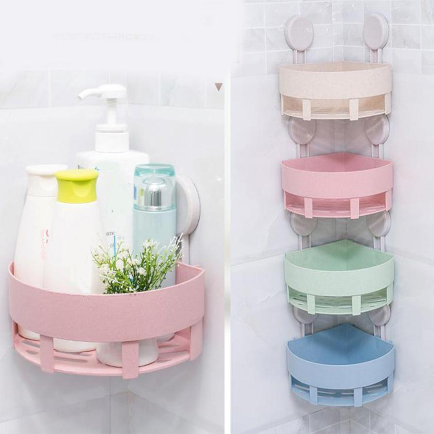 Plastic Suction Cup Kitchen Bathroom Corner Storage Rack Organizer Shower ShelfT