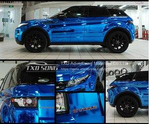 Image 3 - 7 tamanhos de alta stretchable azul escuro chrome espelho vinil envoltório azul escuro cromo espelho vinil folha filme adesivo do carro decalque folha