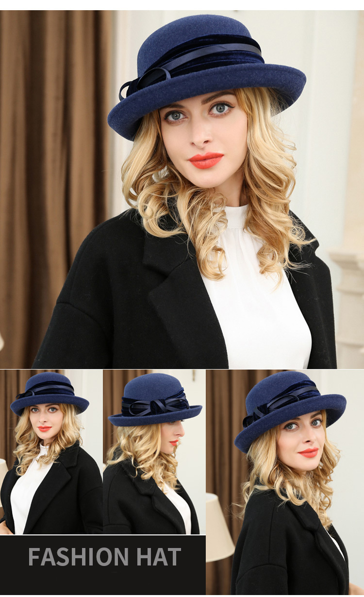 1_Vintage Wide Brim Hats Felt Women Navy Blue Wool Fedora Warm Ladies Bowknot Top Cloche Hat 2018 Chapeau Femme