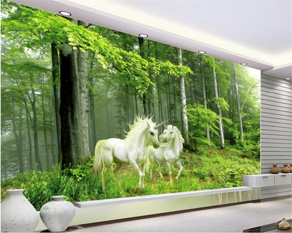 Wali Beibehang 3D Wallpaper Pemandangan Alam Hutan Unicorn
