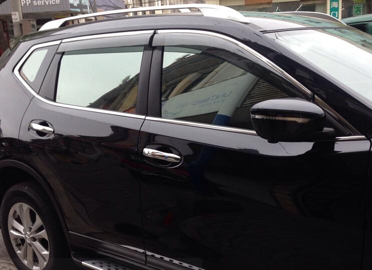4pcs Door Sun Window Visor Deflectors Rain Shield Sun Guard For Nissan X- Trail Rogue 2014 2015 56ebb943dbb
