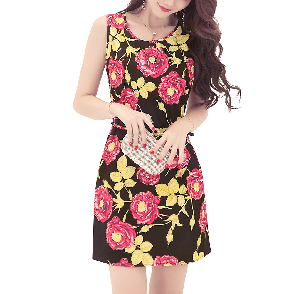 ef7b429920 In the summer of 2018 the new amazon wish roses printed vest dress ...