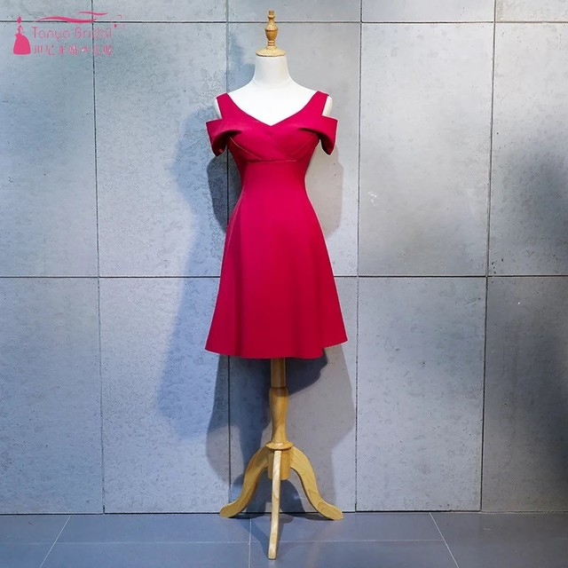Us 56 05 5 Off Aliexpress Com Buy V Neck Red Bridesmaid Dresses Robe Demoiselle D Honneur Short Sleeves Simple Wedding Guest Dress Dqg315 From