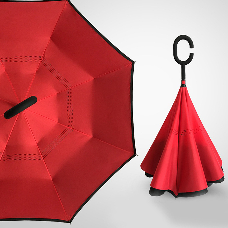 Love Yourself Funny Concept Rainproof and Windproof UV Protection Double Layer Folding Inverted Umbrella with C-Shaped Handle Reverse Umbrellas For Car Rain Outdoor
