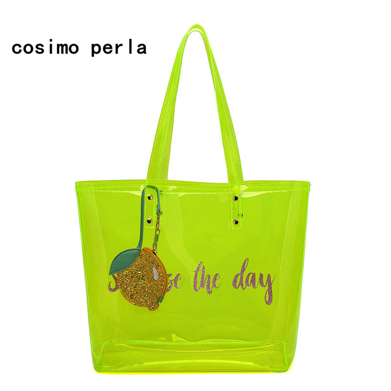 Candy Color Clear Women Shoulder Bag Summer Shopping Totes Bag 2018 Transparent Handbag Purses Large Jelly PVC Travel Beach Bag