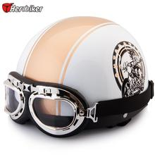 2016 Half Motorcycle Helmets outdoor sport man and woman golden  Motorcycle Racing Helmet + motocross Goggles