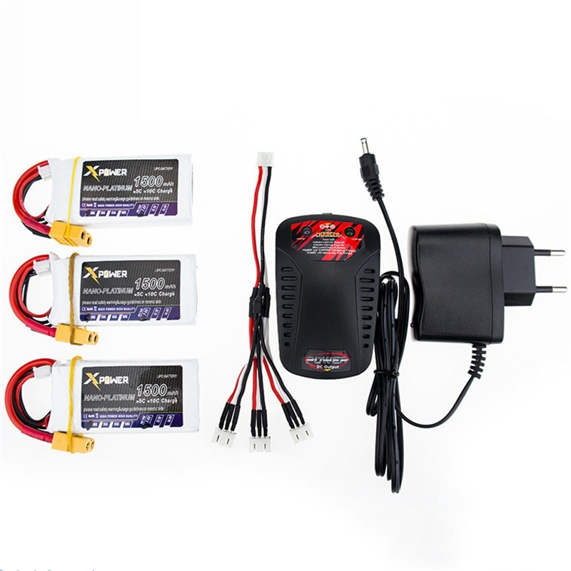 3PCS Xpower RC Drone lipo Batery <font><b>7.4V</b></font> <font><b>1500mAh</b></font> XT60/T Lipo 2S <font><b>Battery</b></font> With Fast <font><b>Charger</b></font> 3 in1 Cable For Helicopter <font><b>Battery</b></font> VS VOK image