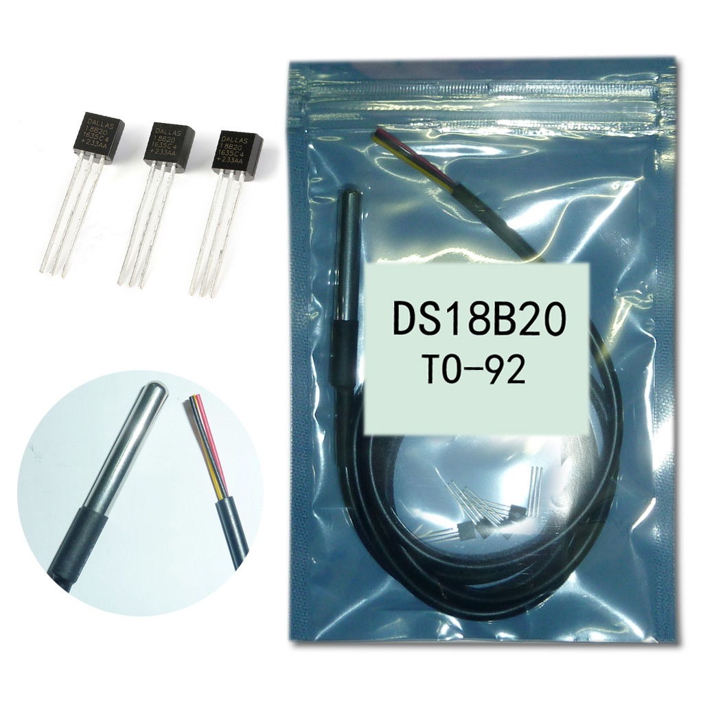 5pcs <font><b>DS18b20</b></font> TO92 +2pcs <font><b>1M</b></font> <font><b>DS18B20</b></font> Temperature Sensor Waterproof Stainless Steel Package For arduino 18B20 Temperature Sensors image