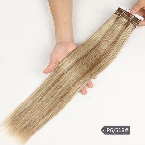 Image 5 - Şık çift çizilmiş düz saç P6/613 sarışın P27/613 brezilyalı İnsan saç demetleri 1 adet sadece Remy uzantıları ücretsiz kargo
