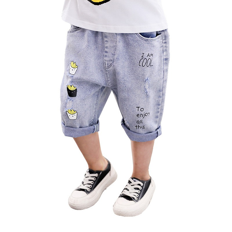 Summer Children Boys Girls Cartoon Letter Print Short Pants Trousers Kids Knee Length Casual Baby Denim Shorts(China)