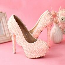 Süße Rosa Perlen Hochzeit Schuhe Frauen Rhienstone Pumpen Jeweled Hohe Ferse 5,5 Zoll Brautschuhe Kundenspezifische Party Prom Schuhe