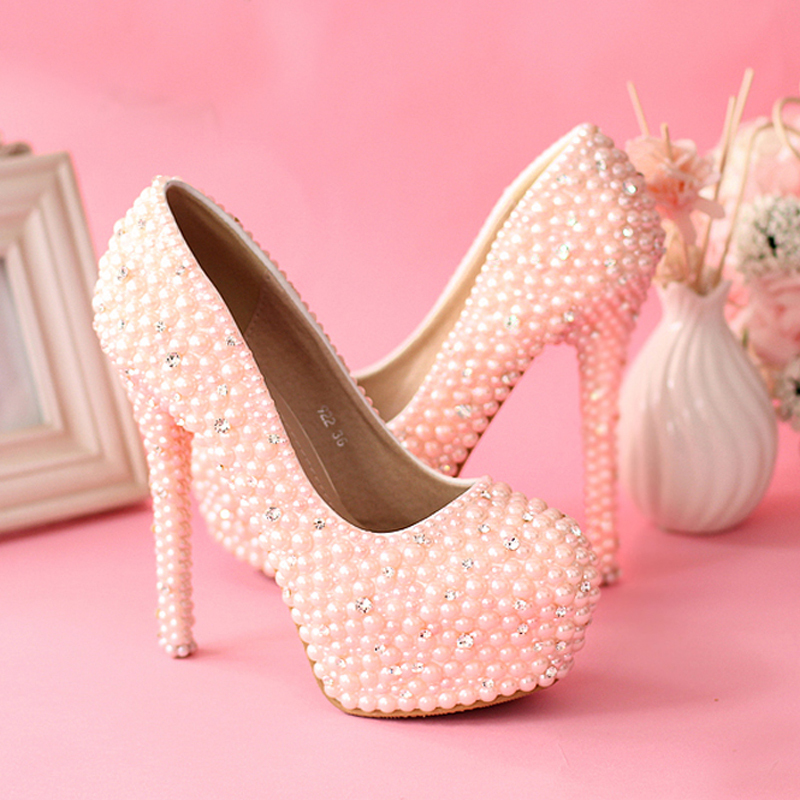 sweetness pink pearls wedding shoes women rhienstone pumps jeweled high heel 55 inches bridal shoes customized