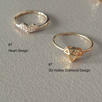 Trendy heart diamant ring copper shiny gold size 7 pave setting finger ring fashion party prom wedding bridal jewelry 12pcs x