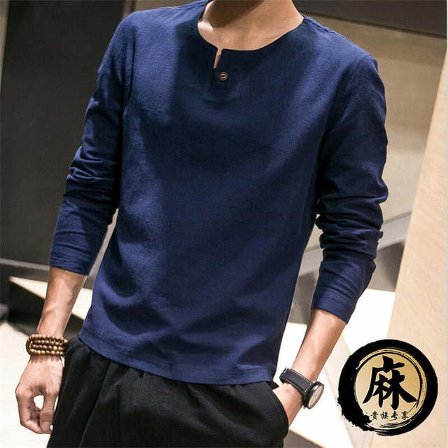 385a2a06f61f Online Shop New Chinese Style Traditional Long sleeve Summer Pure Color  Mandarin Collar Men s Casual Thin Linen Cotton Slim Fit Shirts Male