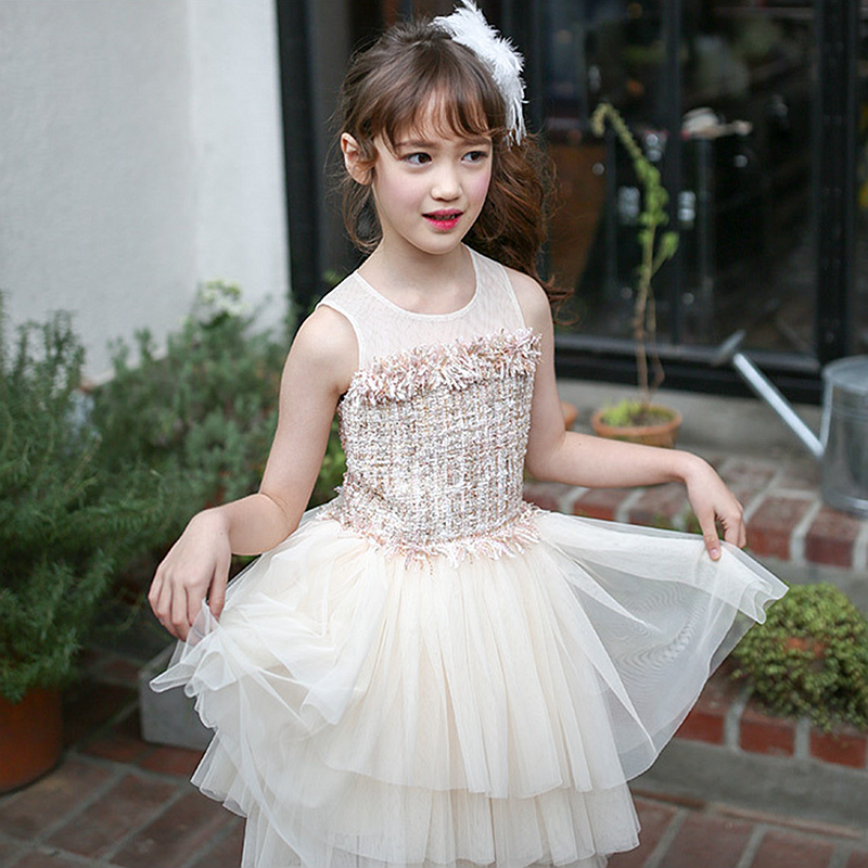 girls party Full dress kids 2017 summer sleeveless lace girl princess wedding dress apricot prom gowns 7 - 12y Children clothing baby girls summer cotton princess top quality kids sleeveless dress children wedding party clothes girl christmas prom dress