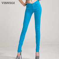 VISNXGI 2017 Brand New Autumn Fashion Pencil Jeans Woman Candy Colored Mid Waist Full Length Zipper