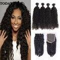 10A Brazilian Virgin Hair With Closure Beauty Hair 4 Bundles Curly Human Hair Brazilian Kinky Curly Virgin Hair With Closure
