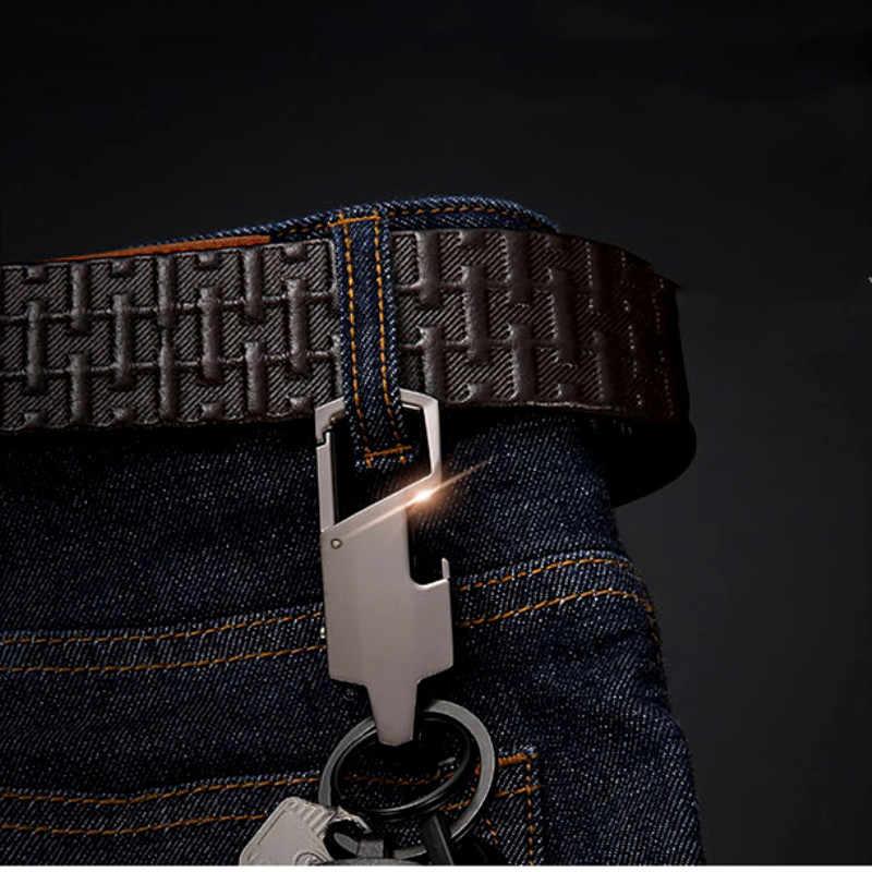 QOONG 2019 мужской черный металлический брелок в деловом стиле светодиодный светильник многофункциональная автомобильная сумка брелок для ключей для мужчин SMT01