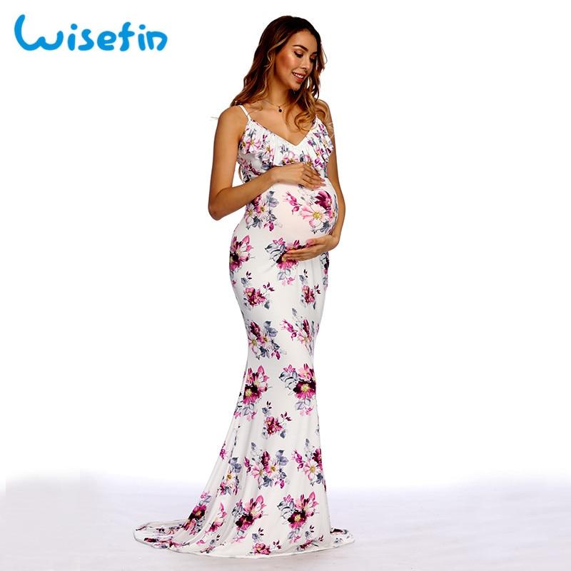 Wisefin Maternity Gown For Women Sexy Pregnant Maxi Dress Photography Summer Women Midi Dresses Maternity Photo Shooting Clothes женское платье women summer sexy maxi dress 2015 vestidos o s xxl lya1498