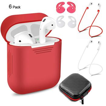 Ostart Earphone Silicone Protective Cover & Receiving box & Anti Lost Strap & Ear Cover Hooks for Apple AirPods Case Accessories Earphone Accessories