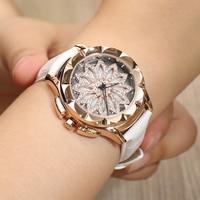 TIBOAT Fashion Genuine Leather Women Watches 360 Degrees Rotating Dial Crystal Diamond Quartz Watch Rhinestone Reloj