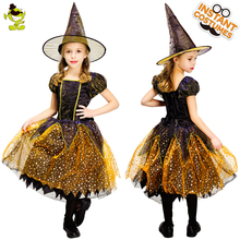 Dziewczęcy strój czarownicy dzieci złota elegancka sukienka czarownicy z kapeluszem ubrania na Halloween na imprezę Cosplay kostiumy