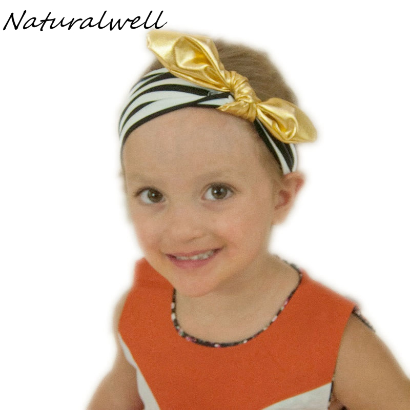 Naturalwell Child Rabbit Ear Headband Little Girl Gold Hair Bow Knot Hair Bands Headwear Kids Elastic Hair Accessories 1pc HB496 8 pieces children hair clip headwear cartoon headband korea girl iron head band women child hairpin elastic accessories haar pin