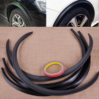 4 Pcs Set Carbon Fiber Car Wheel Rubber Eyebrow Protector Lip Arch Trim Flare Fender Strip