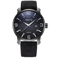 GIMTO Cool Black Men Sport Watch Top Brand Leather Waterproof Quartz Male Watches Military Casual Calendar