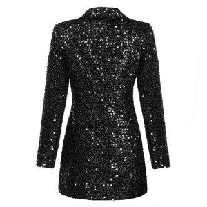 Image 3 - מסלול אופנה החדש באיכות גבוהה 2020 מעצב בלייזר נשים של טור כפתורים כפול צעיף צווארון נצנצים ארוך בלייזר חיצוני ללבוש
