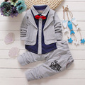 2016 kids boy spring bow suits clothing baby boys spell color fake 2-piece clothing set children cotton coat + pants clothes
