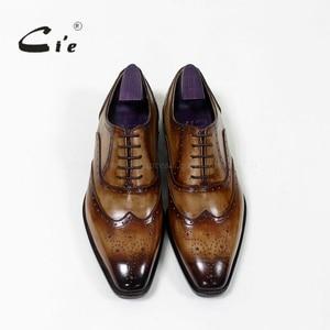 Image 3 - cie Square Toe Brogue Oxford 100%Genuine Calf Leather Breathable Bespoke Leather Shoe Custom Leather Men Flat  Handmade OX 02 16