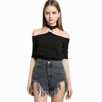2017 Femmes T-Shirt Off Épaule Sexy Évider Été Punk Tumblr Vêtements Recadrée Feminino Noir Tops Pour Femmes Chemises 40A162